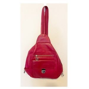 Franklin Covey Backpack Red Leather Convertible